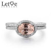 Leige Jewelry Morganite Engagement Ring Natural Pink Morganite Silver Ring Oval Cut Pink Gemstone 925 Sterling Silver Bridal Set