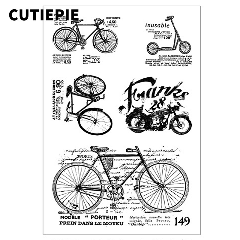 Kinds of Bicycle Transparent Clear Stamps for Scrapbooking DIY Photo Album Embossing Folder Paper Card Making Decor Accessories in Stamps from Home Garden