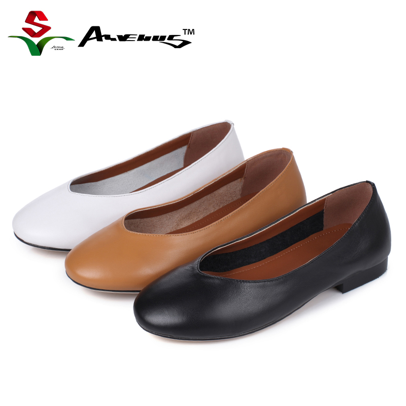 Anvenus Women Fashion Classic Genuine Leather Ballet Flats Lady Round Toe Slip-on Driving Office Boat Shoes Simple Solid Color