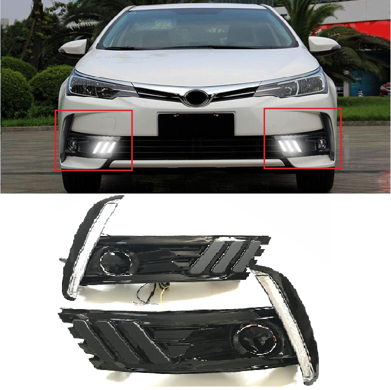 Car Flashing Fog Lamp Cover Led Daytime Running Lights Fit For Corolla 2017 2018 12V ABS DRL With Yellow Turn Signal Lights