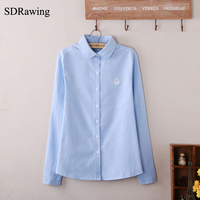 SDRawing Women Blouse New Casual BRAND Long Sleeve Oxford Shirt Woman Office Wear Shirts High Quality
