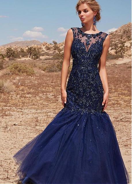 Navy Blue Lace Mermaid Prom Dresses Long Sleeveless Beaded Lace