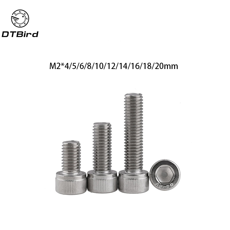 100pcs Metric Thread DIN912 M2 304 Stainless Steel Hex Socket Head Cap Screw Bolts M2*(4/5/6/8/10/12/14/16/18/20) mm free shipping 30pcs lot metric thread din912 m6x30 mm m6 30 mm 304 stainless steel hex socket head cap screw bolts m6x30