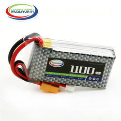 2PCS MOSEWORTH 3S RC lipo battery 11.1v 1100mAh 25C Li-Po cell For rc airplane drone toys Rechargeable Free shipping