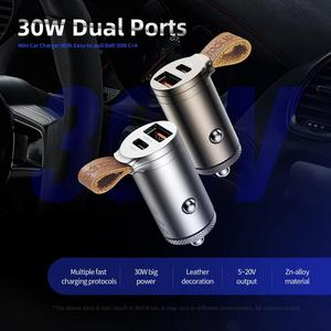 Image 5 - ロック急速充電 4.0 3.0 車の充電器 30 ワット USB C pd QC4.0 QC3.0 qc 5A 急速充電器ベルトデュアル usb ミニ自動車電話充電器新