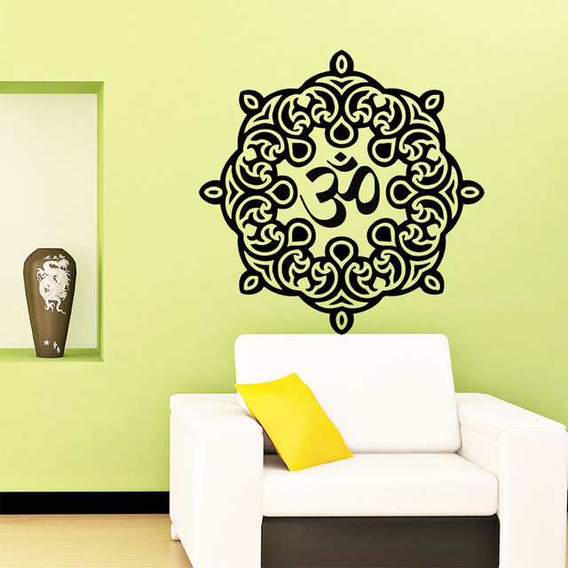Indian Om Symbol Mandala Wall Sticker Home Decor Vinyl Self Adhesive ...