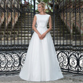 V Back Satin Wedding Dresses A Line Cap Sleeve Bridal Gowns Vintage Sweep/ Brush Train vestido de noiva longo 2016