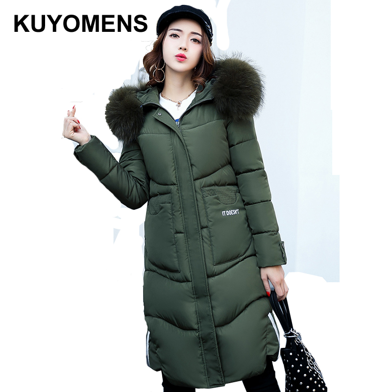 KUYOMENS Winter Coat Women X-long Plus Size M-XXXL Long Parka Luxury Fur Cotton-Padded Thick Warm Coats Women Wadded Jackets winter jacket women 2017 new winter coat women long parka luxury fur cotton padded coat women wadded jackets plus size 3xl