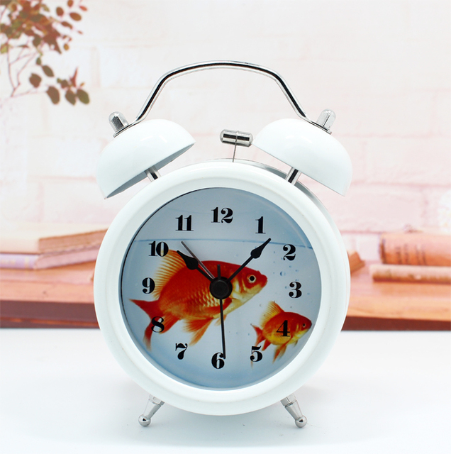Beautiful Fashion Creative Cute Goldfish Bowl Metal Bell Alarm Clock Bedside Table  Aquarium Goldfish Desktop Watch Decor