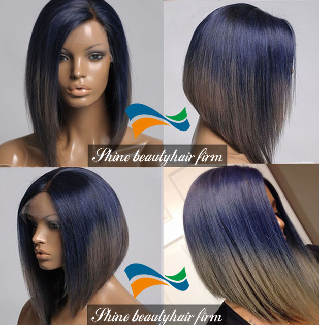 e03a04df7ff US $137.0 |Hot Sale Brazilian Human Hair Short Bob Ombre Blue to Gray  Glueless Silk Top Full Lace Wigs 130% Density Blue Front Lace Wigs on ...