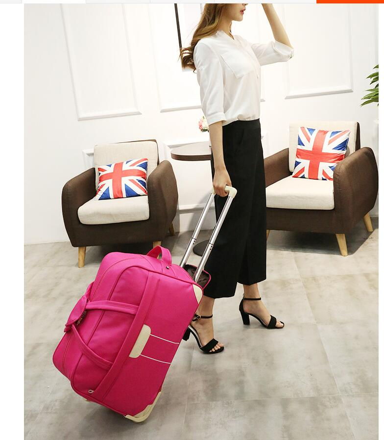 20 inch 22 Inch Women Cabin Rolling Bag with wheels Women travel luggage bag trolley wheeled bag Travel Suitcase Baggage Bag kundui new 22 24 inch vintage travel trolley luggage suitcase pu red marriage with tsa lock rolling bride makeup bag with wheels