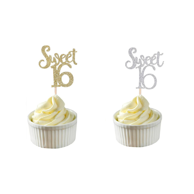 10pcs Gold & Silver & Blue Glitter Sweet 16 Birthday Cupcake Toppers Birthday Party Decorations Favors Cake Decorations Picks,Q