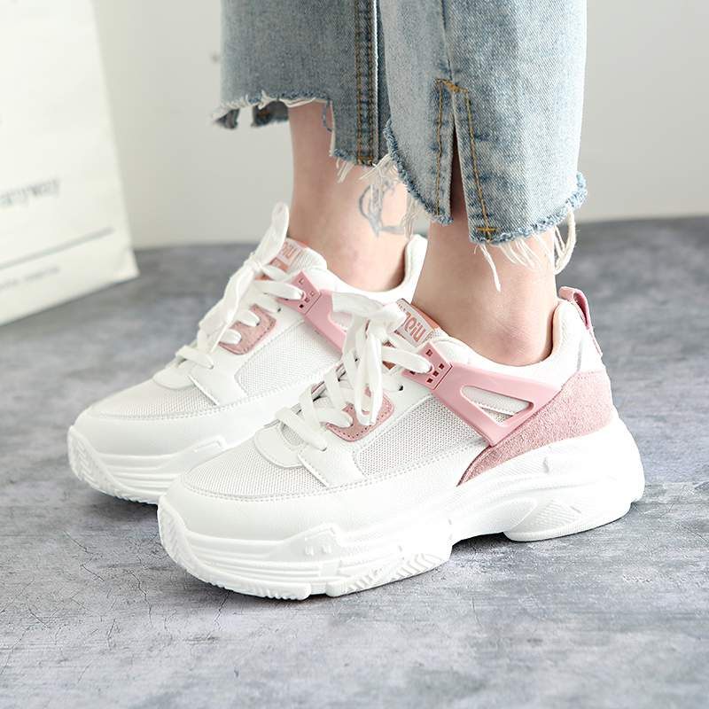 Women Sneakers 2018 New Fashion Trends Ins Hot Selling Female White Sneakers Spring Summer Lace Up Thick Bottom Black Size 35-39 цены онлайн