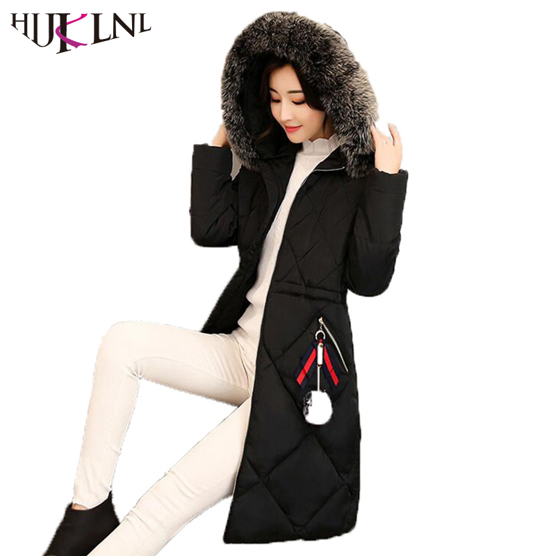 HIJKLNL dames winterjassen Long Jacket Women 2017 Winter Thick Coats and Jackets Hooded Fur Collar Warm Padded Parka Mujer NA401 hijklnl women casual letter printed hooded long jacket 2017 winter thick coats female loose overcoat cotton parka mujer na340