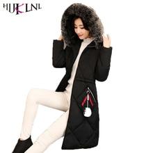 HIJKLNL dames winterjassen Long Jacket Women 2017 Winter Thick Coats and Jackets Hooded Fur Collar Warm Padded Parka Mujer NA401