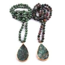 804a926aa7ae MOODPC moda 8mm India ágata Piedra Natural nudo con piedra gota colgante  collar hecho a mano joyería de las mujeres