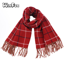 Winfox Red Pink Winter Female Wool British Tartan Plaid Scarf Shawl For Women Long Warm Knitted Tassel Cashmere Scarfs Wrap