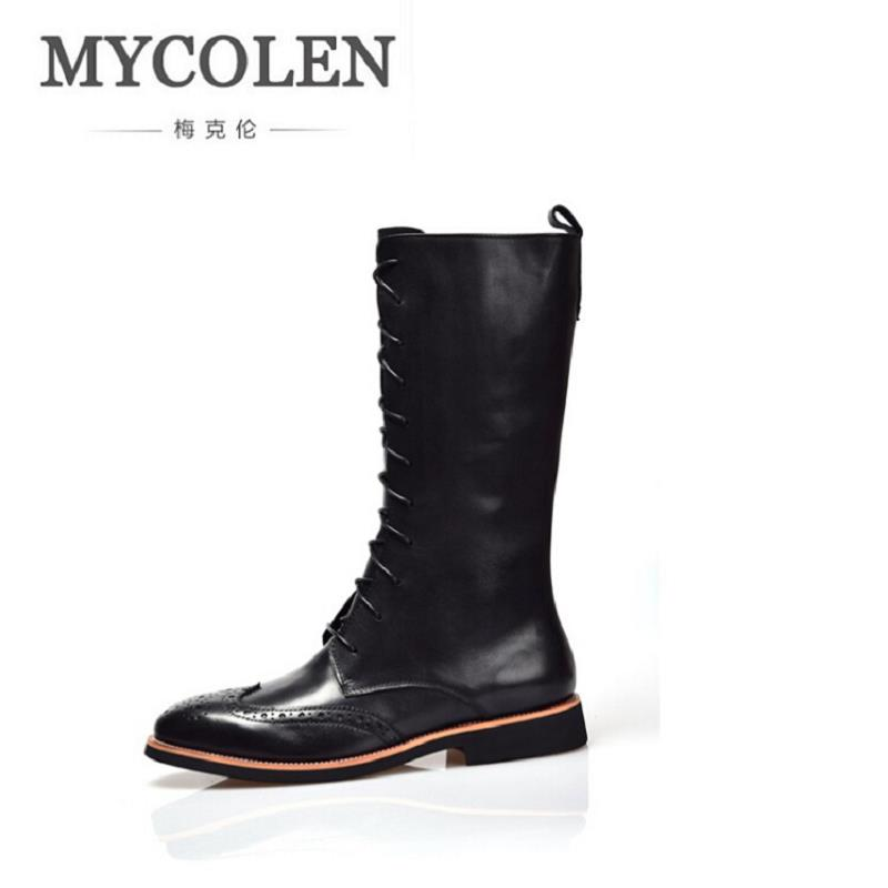 MYCOLEN Winter Martin Military Boots High Top Men Shoes Leather Men Boots Brand Tactical Combat Boots Men Outdoor Autumn Shoes