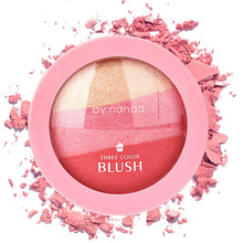 NEW Natural Blusher Makeup Ice Cream 3 Color Blush Baking Powder Palette Cheek Shadow Beauty Tool