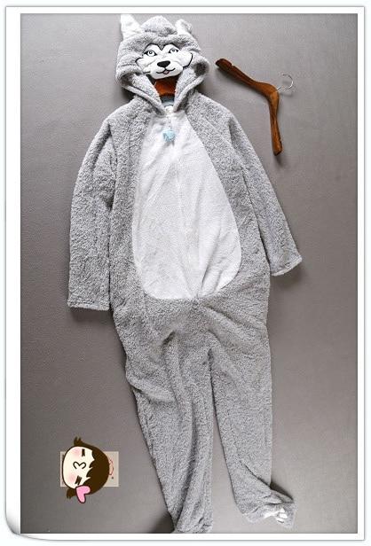 83cd40b9a Fashion Fleece Husky Hooded Onesies   Dog Footed Pajamas Adult Women ...