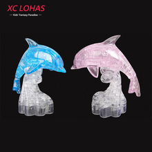 35pcs/set LED Flash Dolphin 3D Crystal Puzzle DIY 3D Stereoscopic Dolphin Puzzle Toys for Adults & Children Sweet Wedding Gifts