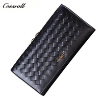 Cossroll LWomen Wallets Fashion Braided Genuine Leather Wallets Luxury Womens Wallets And Purses Multi Function Hasp