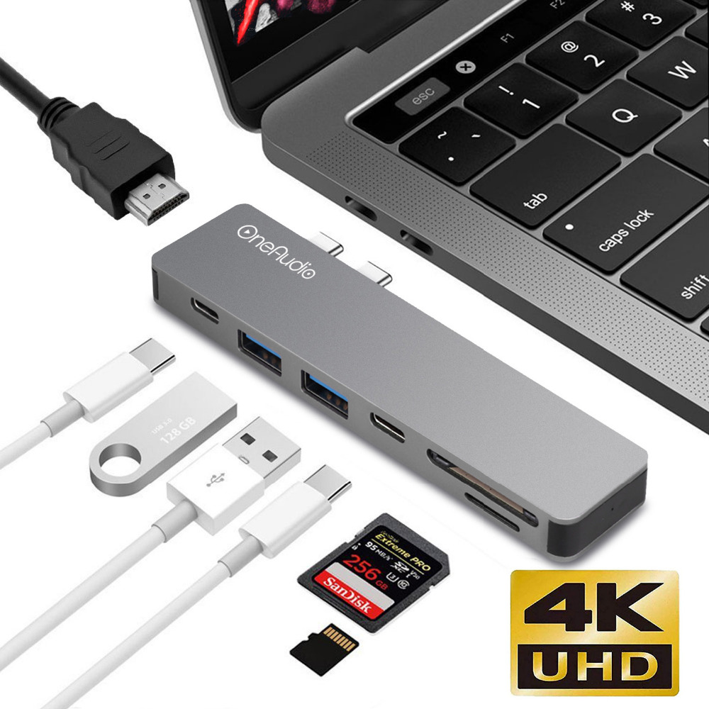 7 in1 USB Dual Type-C Hub to Adapter 4K HDMI for MacBook Pro Thunderbolt USB 3.0