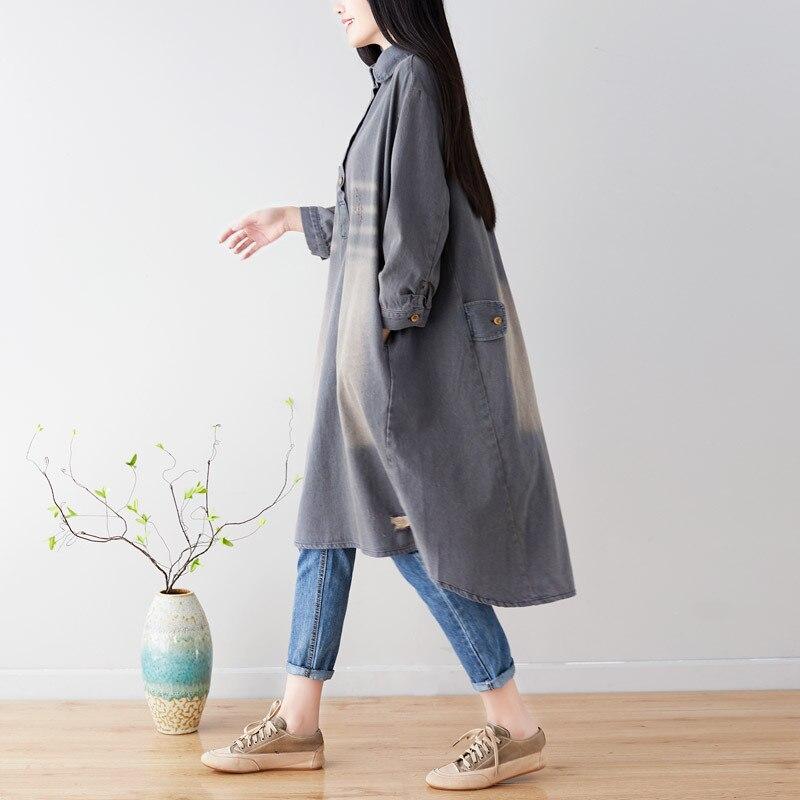 Personnalité denim femmes robe longue grande taille robes en vrac trou patchwork harajuku streetwear tous les matchs mode femmes vêtements