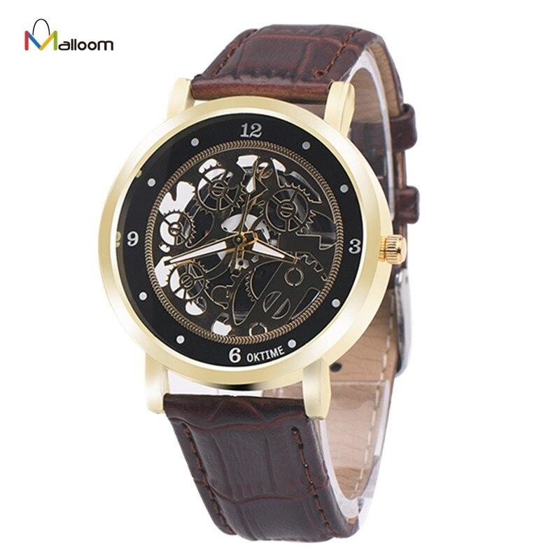 Mechanical Watch Men Top Brand Luxury Relogio Masculino Military Army Clock PU Leather Analog Quartz Neutral