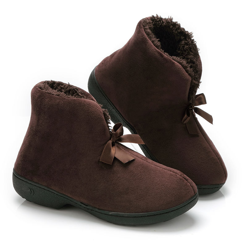 Meleg papucs Női téli cipő Bowtie plüss belsejében loaferes női beltéri papucs Pantuflas női cipő
