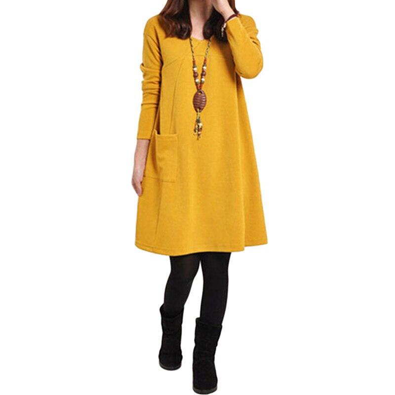 HTB1v246QpXXXXbKXFXXq6xXFXXX5 - 2018 Autumn Dress Women Winter Long Sleeve Pocket Dress Solid O Neck Casual Loose Party Dresses Fashion Vestidos Plus Size S-5XL