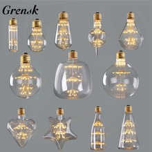 Grensk Dimmable Fireworks led Bulb 3W 2200K Edison Led Filament Light Bulbs E27 220V Decorative Christmas Lamp Lampadas Led ST64
