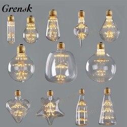 Grensk Dimmable Fireworks led Bulb 3W 2200K Edison Led Filament Bulb E27 220V Wine Bottle Christmas Lights Lamp Lampada Led ST64