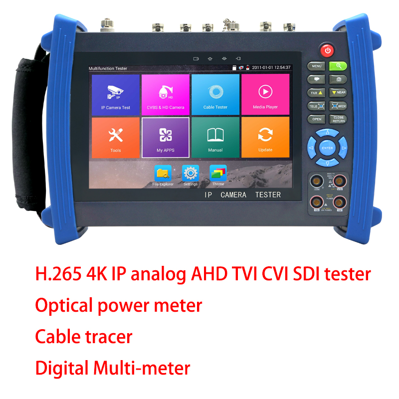 4K H.265 H.264 IP Tester Analog AHD TVI SDI CVI Camera CCTV Tester Monitor with Multi-meter ,Optical power meter,Cable tracer