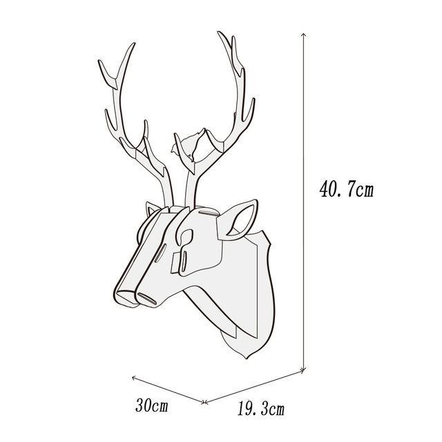 DIY 3D Wooden Animal Deer Head Art Model Home Office Wall Hanging Decoration Storage Holders Racks Home Decoration Accessories 2