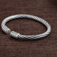 925 Silver Rope Bangle Fashion Simple Vintage Open Size 100 S925 Sterling Silver Bangles For Women