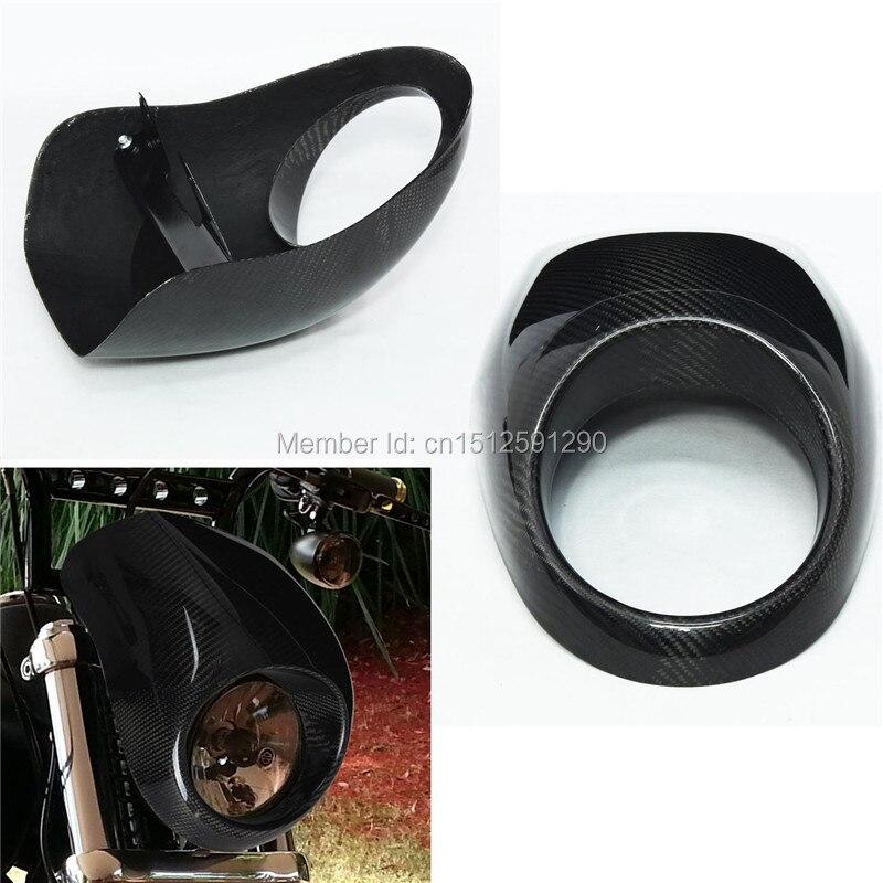 100 RealCarbon Fiber Head Light Fairing Mask Front Visor Fits For Harley Sportster Custom Free Shipping