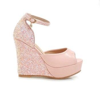 2019 New Summer High Heel Wedges Sandals Fashion Sequined Buckle Shoes Women Platform Peep Toe Dress Shoes Pink White Black