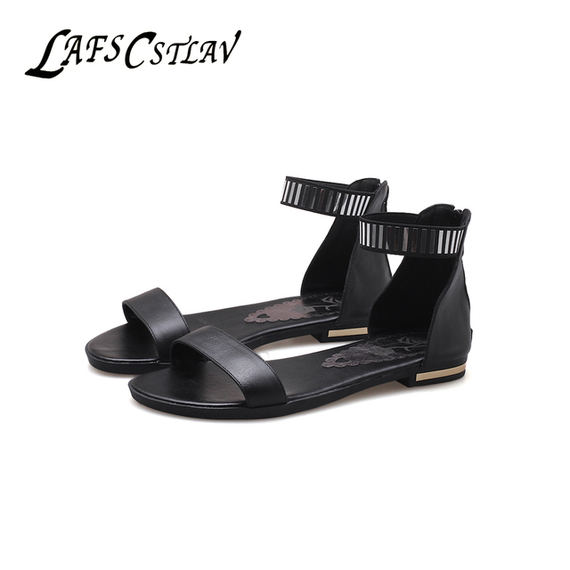 LAFS CSTLAV Elegant Genuine Leather Gladiator Sandals for Women Flat Heel  Comfortable Casual Summer Shoe Woman