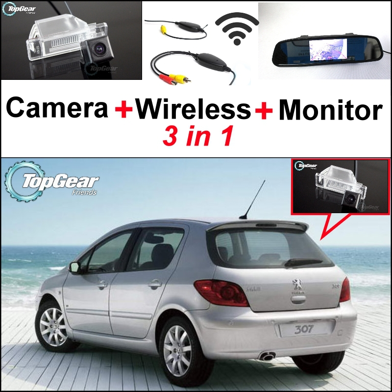 3 in1 caméra de vue arrière spéciale + récepteur sans fil + miroir moniteur bricolage système de stationnement pour Peugeot 307 hayon 307cc 2001 ~ 2014