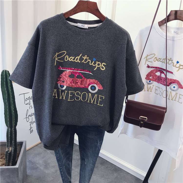 2019 Fashion Women Embroidery T Shirts Short Sleeve High Street Solid O Neck Thick Cotton Tees Tops
