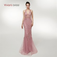Vivian's Bridal Sexy Halter Backless Evening Dress Mermaid