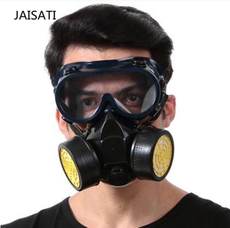 New Protection Filter Dual Gas Mask Chemical Gas Anti Dust Paint Respirator Face Mask with Goggles Industrial Safety respiradore 1pcs double gas mask chemical gas respirator face masks filter chemical gas protected face mask with goggles
