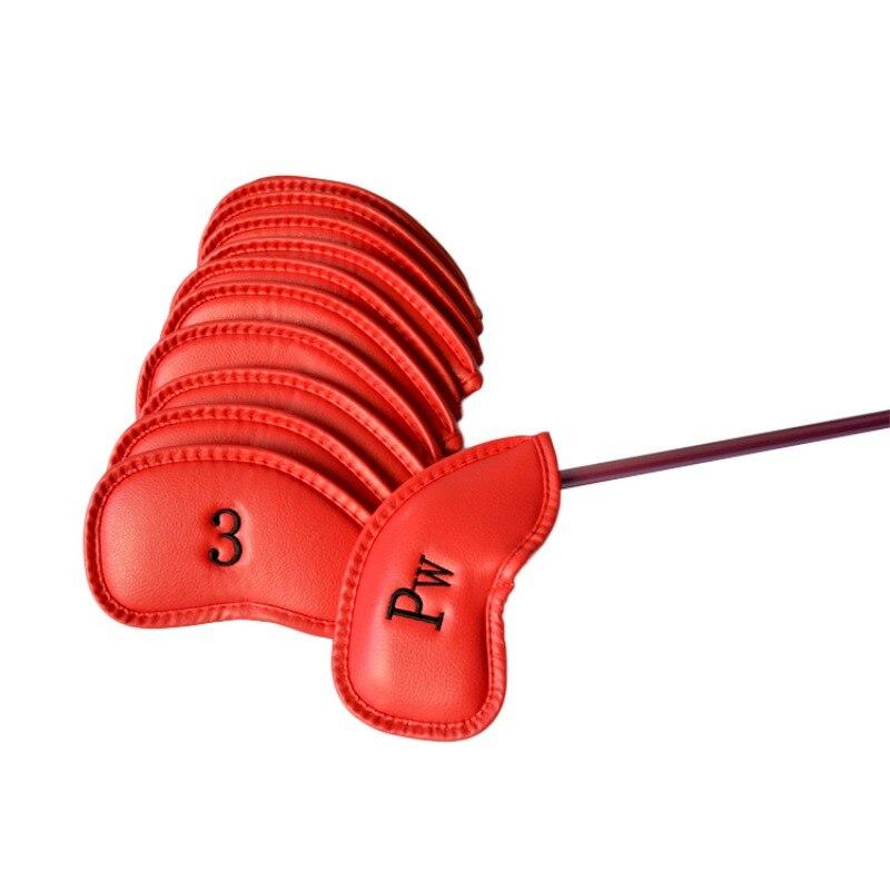 Супер продать 12 шт. черный из искусственной кожи Гольф клуба глава Обложка Клин Железа клюшки защитный Headcovers CY1