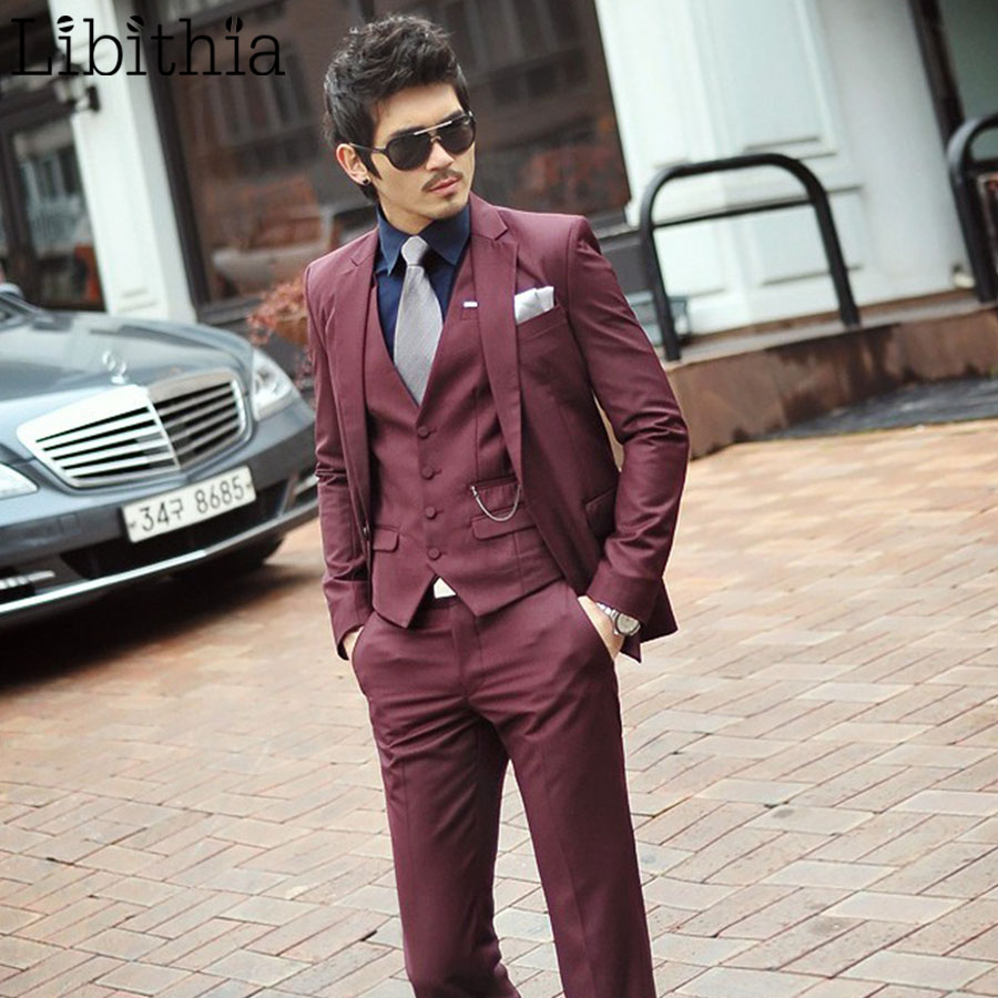 Rouge Costumes Pantalon Slim Hommes Vin Wine Homme Costume Masculino veste Mariage Red Cravate Vêtements Un Bouton Fit Blazer Formelle S313 Smoking De IUwndSqC