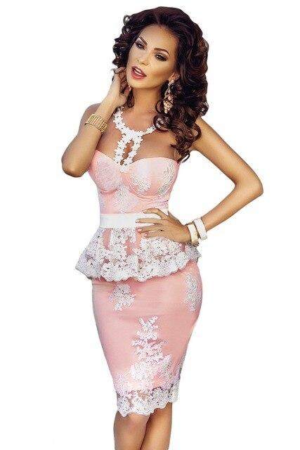 2017 roupas feminina retro vintage sexy elegantes vestidos de fiesta de verano floral crochet encaje illusion desnuda pink peplum dress lc61201