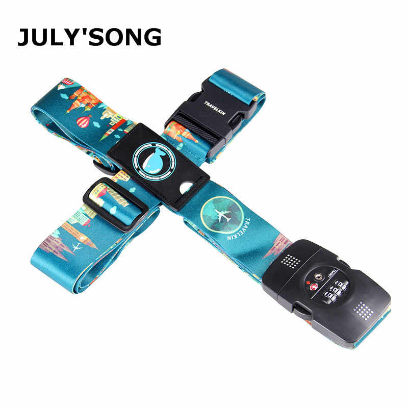 TSA 3-Digit Password Lock Adjustable Luggage Strap Travel Suitcase Band Belt Baggage Strap Fit for 20-32'' Suitcase