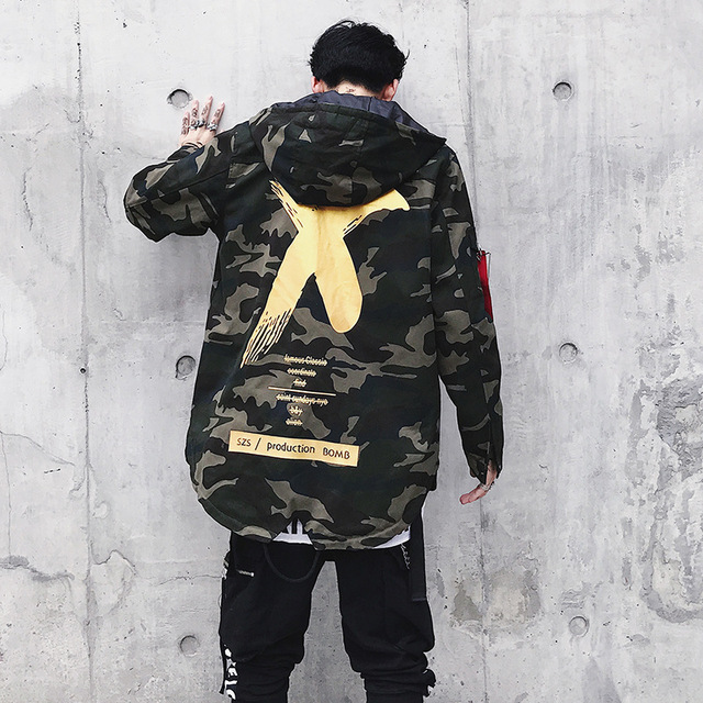 Newest Mens Jacket High Street Spring Men Camouflage X Print Jackets Fashion Cotton Windbreaker Coat Male Hood Hip Hop Streetwea