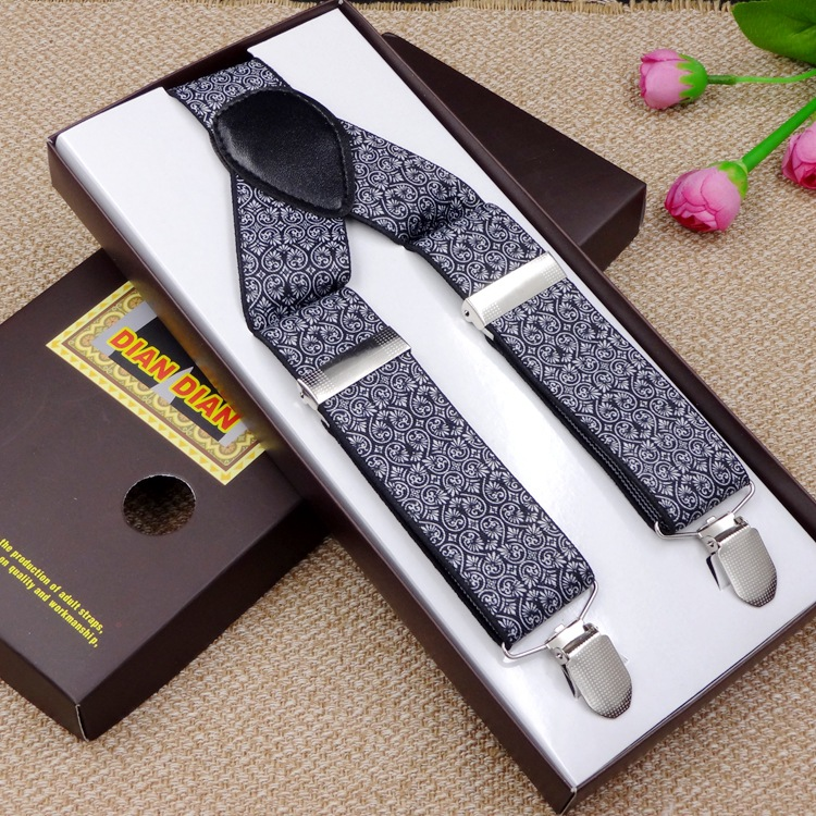 2017 Fashion Printed Suspenders Men Three Clips on Braces Vintage Mens Suspender For Trousers Husband Male