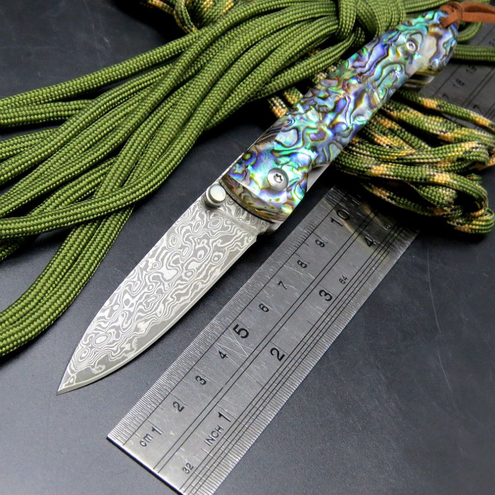 Hot Folding Blade Knives EF83 Damascus Steel Colorful Handle Camping Outdoor Knife Tactical Survival Tool EDC Hand Tools  цены